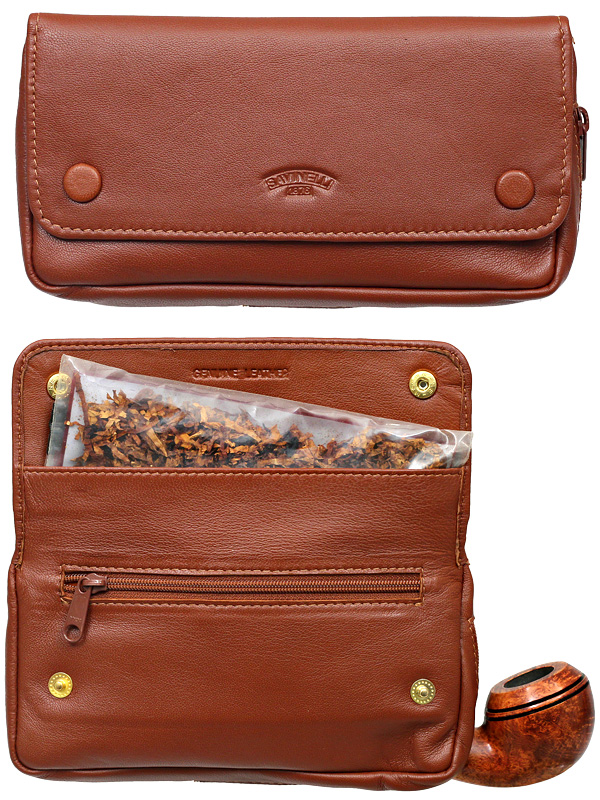 Pipe Accessories Savinelli Brown Pipe Bag and Tobacco Pouch