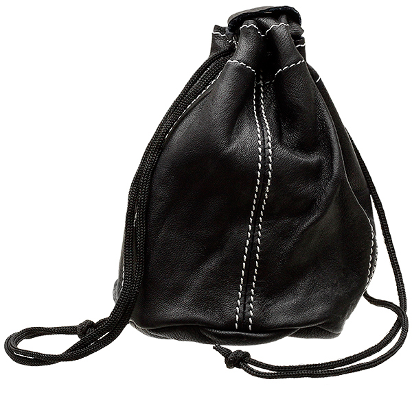 Black Leather Drawstring Tobacco Pouch