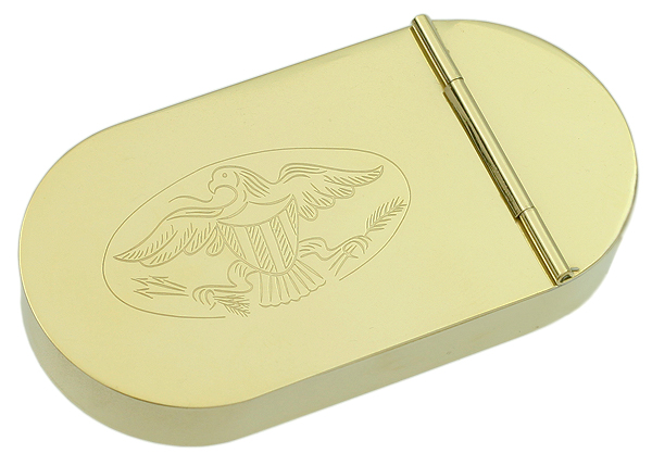 Pipe Accessories 1790 English Tobacco Box Brass w/Eagle