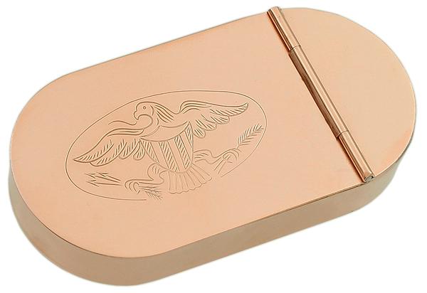 Pipe Accessories 1790 English Tobacco Box Copper w/Eagle