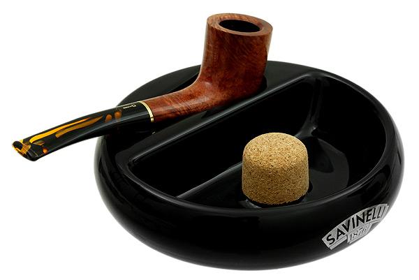 Ashtrays Savinelli Ceramic 1 Pipe Black Ashtray
