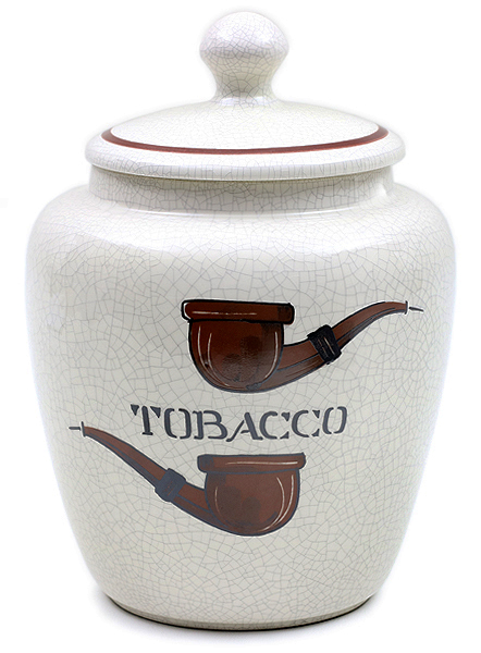 Tobacco Jars Savinelli Large Antique Ceramic Tobacco Jar with Pipes