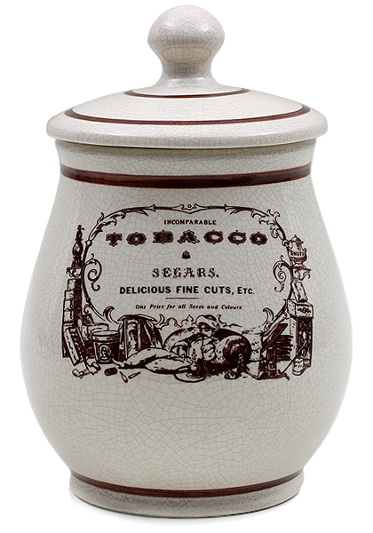 """Pipe Accessories Savinelli Medium Antique Ceramic """"Tobacco & Segars"""" Tobacco Jar"""