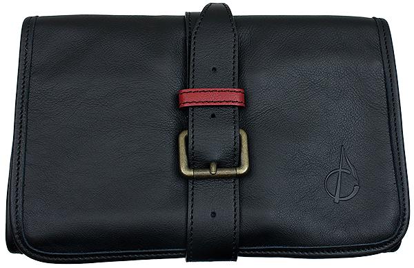Pipe Accessories Claudio Albieri Italian Leather Rollup Black/Red Interior
