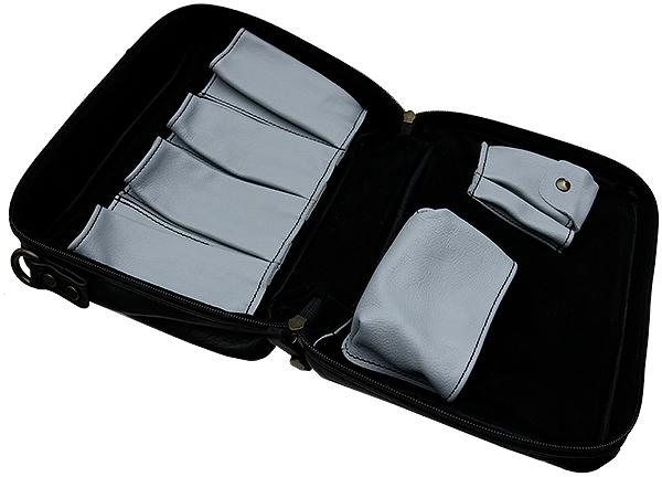 Pipe Accessories Claudio Albieri Italian Leather Elegance 4 Pipe Bag Black/Blue