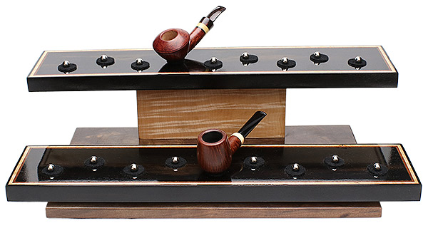 Pipe Accessories Neal Yarm 18 Pipe Two Tier Ebony Pipe Stand