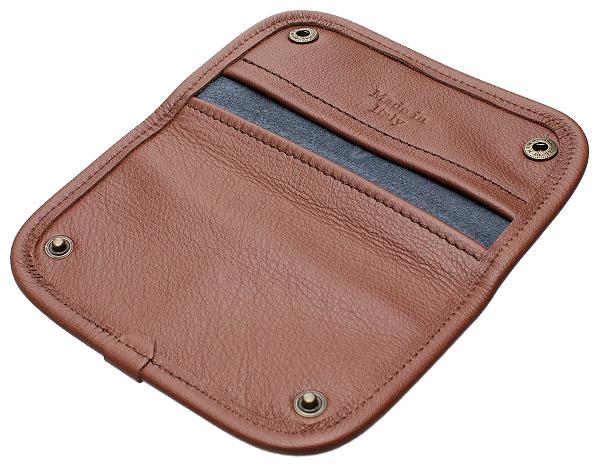 Pipe Accessories Claudio Albieri Italian Leather Tobacco Pouch Deluxe Dark Blue/Russet