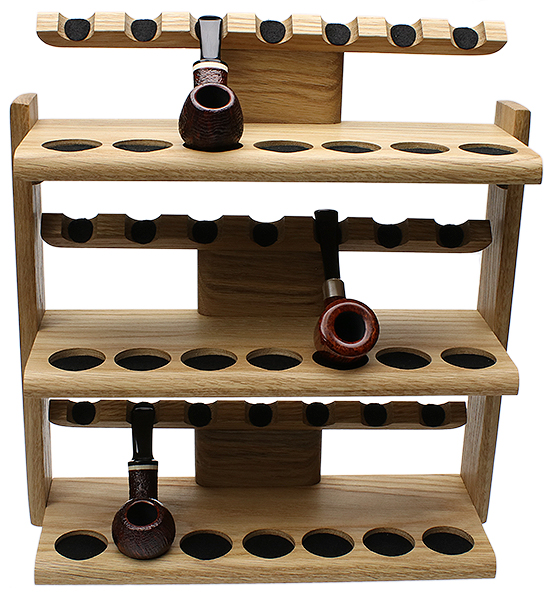 Pipe Accessories Neal Yarm 21 Pipe Oak Three Tier Pipe Stand