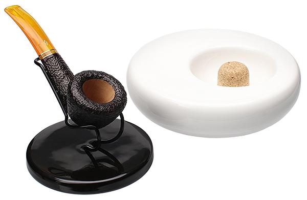 Ashtrays Savinelli White Ashtray with Black Pipe Stand Top
