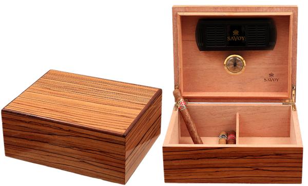 Cigar Accessories Savoy Zebrawood Medium Humidor