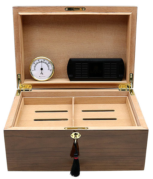 Cigar Accessories Savoy Ash Burl Large Humidor