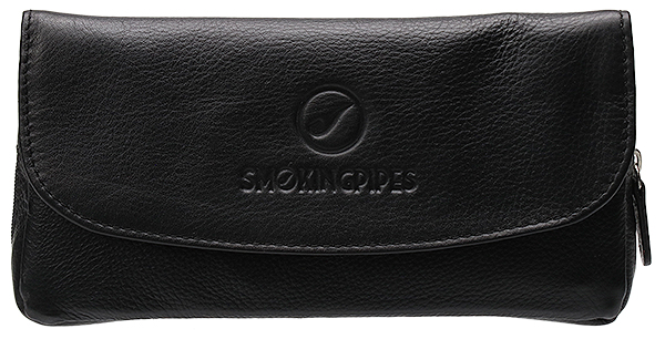 Smokingpipes Gear Smokingpipes.com Leather 2 Pipe Case with Pouch Black