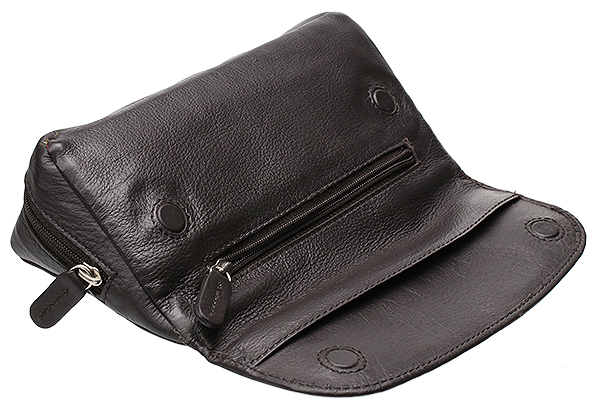 Smokingpipes Gear Smokingpipes.com Leather 2 Pipe Case with Pouch Dark Brown