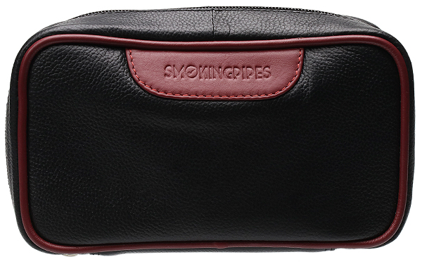 Smokingpipes Gear Smokingpipes.com Leather 2 Pipe Bag with Tobacco Pouch Black & Red