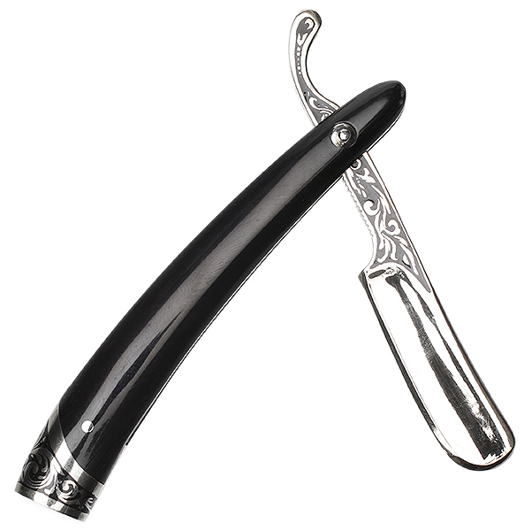 Pipe Supplies Glotov Straight Razor Electroplated Nickel Silver and Buffalo Horn Tamper with Case