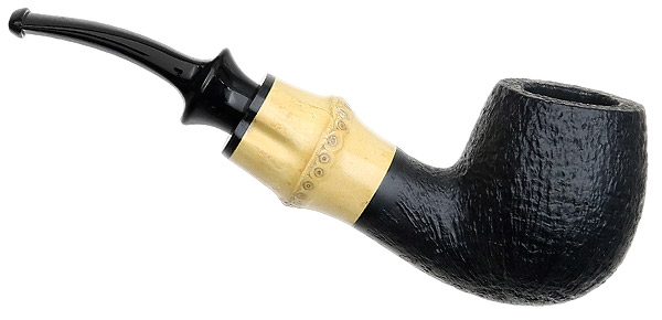 Tsuge Chubby Sandblasted Bent Billiard with Bamboo