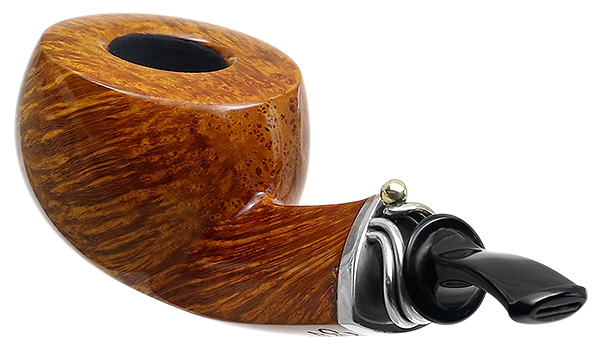 Neerup P. Jeppesen Handmade High Grade Smooth Bent Pot with 14KT Gold Ball and Silver Band (11)