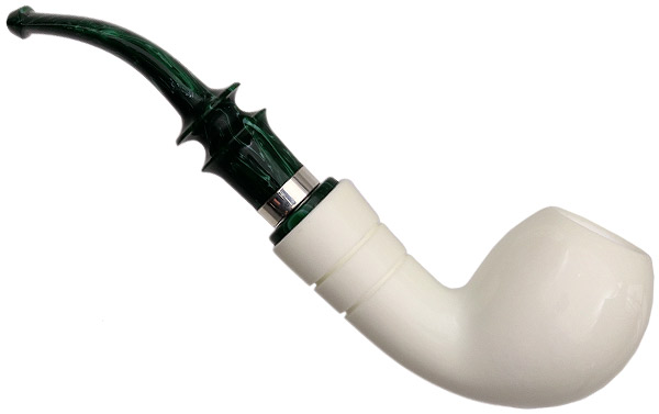 I.M.P. Meerschaum Smooth Bent Egg with Silver (with Case)