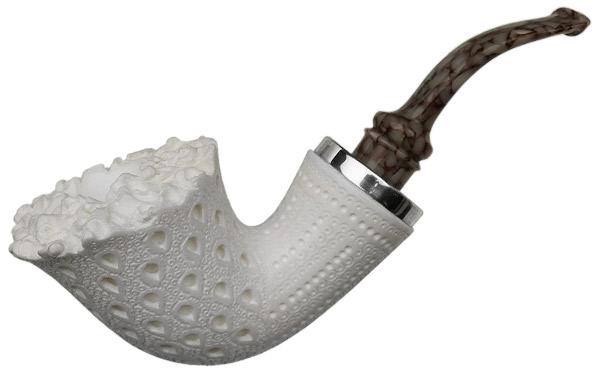 I.M.P. Meerschaum Lattice Reverse Calabash Bent Dublin with Silver (with Pocket Case)
