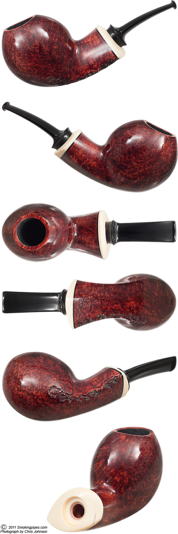 J. Alan Pipes Smooth Pufferfish with Mastodon Ivory