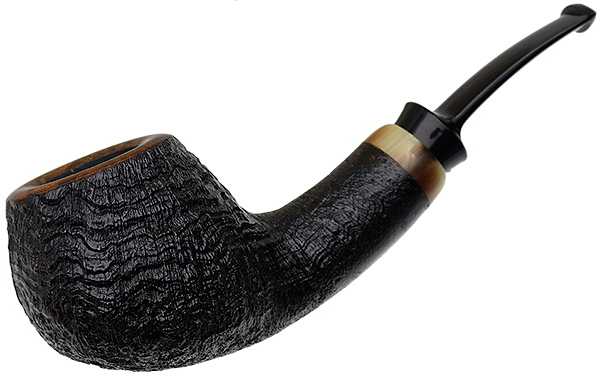 J. Alan Pipes Sandblasted Bent Apple with Horn (1406)