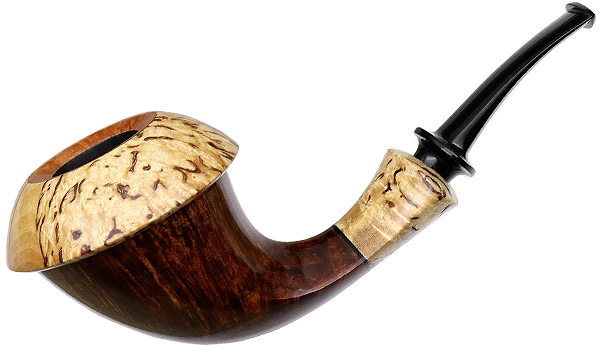 Chris Asteriou Smooth Calabash with Curly Birch (55/17)