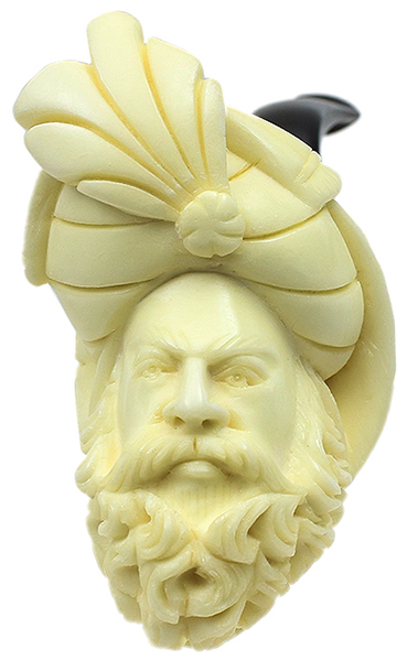 AKB Meerschaum Carved Bearded Sultan (with Case)