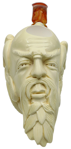 AKB Meerschaum Carved Wise Man in Dragon Claw (with Case)