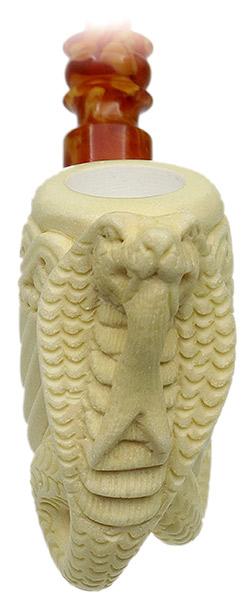 AKB Meerschaum Carved Bent Billiard with Cobra (with Case)