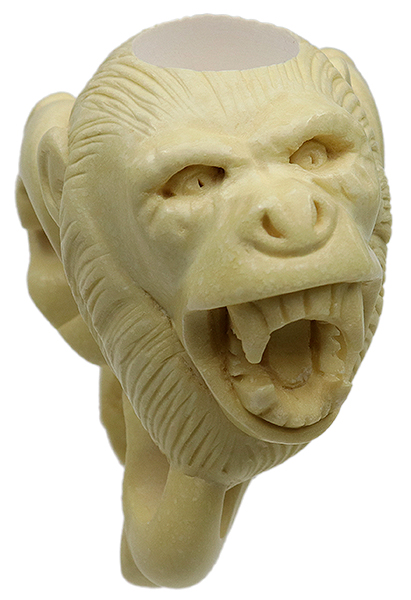 AKB Meerschaum Carved Screaming Monkey in Dragon Claw (with Case)