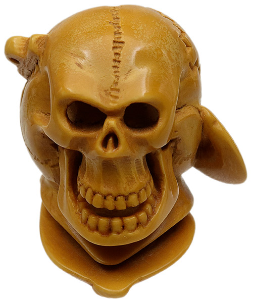 AKB Meerschaum Carved Skeleton with Anchor Through Head (with Case)