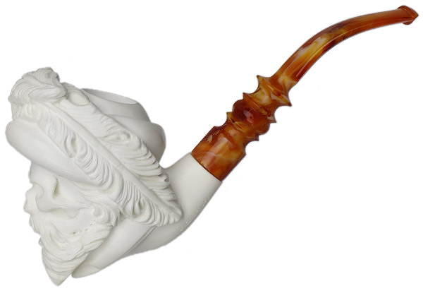 AKB Meerschaum Carved Blackbeard Skeleton (S. Cosgun) (with Case)