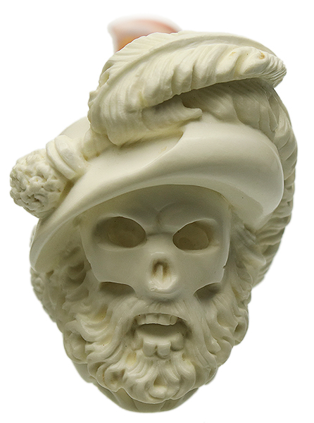 AKB Meerschaum Carved Skeleton Pirate Captain (Ali) (with Case)