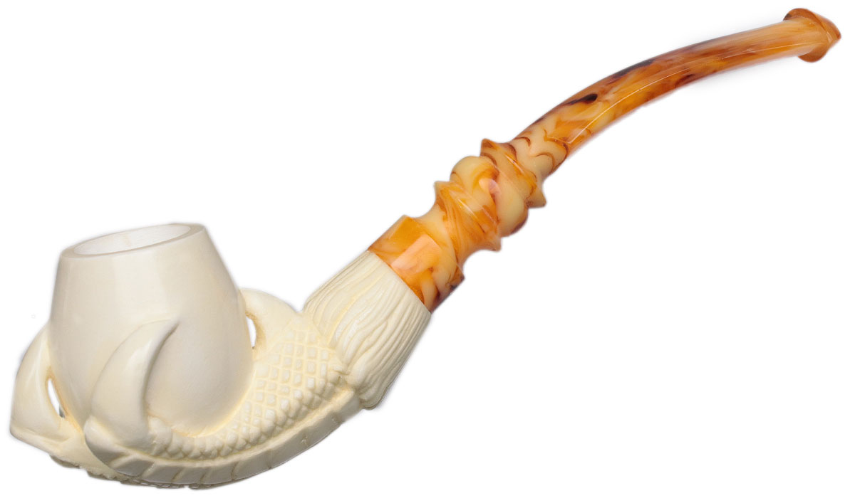 AKB Meerschaum Carved Dragon Claw Holding Vase (with Case)