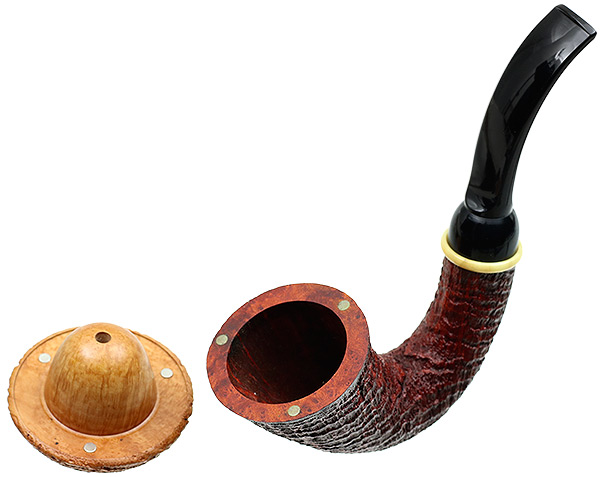 BriarWorks Crimson Sandblasted Magnetic Calabash with Light Sandblasted Cap