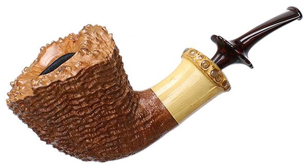 Wojtek Pastuch Sandblasted Natural Bent Dublin with Bamboo and Abalone (0832)