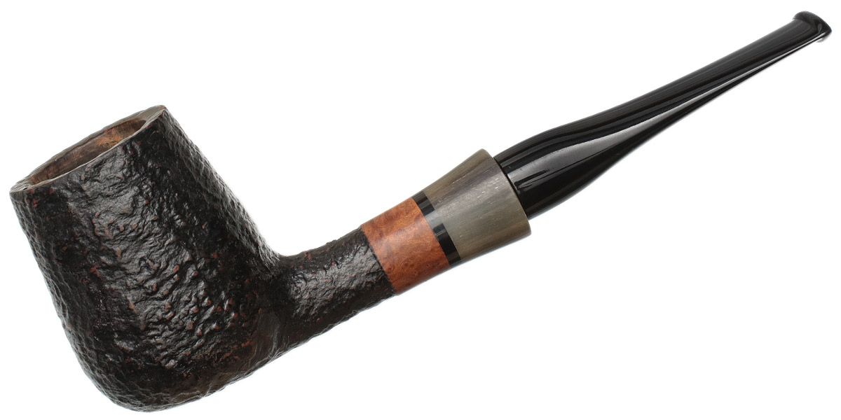 Danish Estate W.O. Larsen Sandblasted Billiard with Horn (Largo) (Replacement Stem)