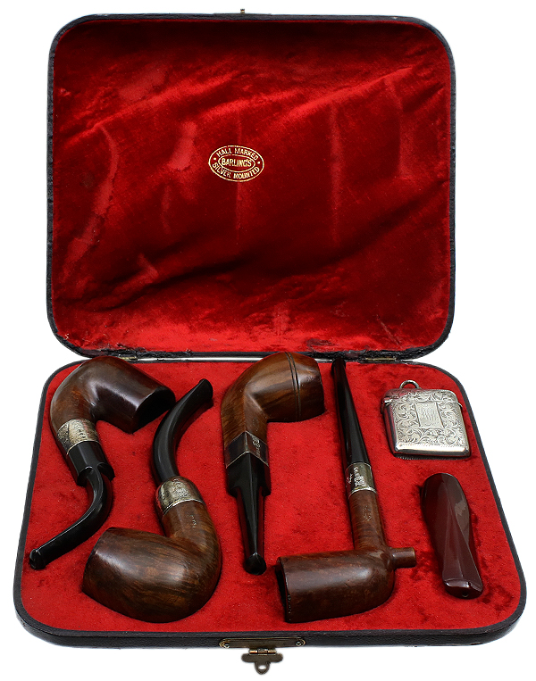 English Estate Antique Barling Four Pipe Presentation Set with Silver (1898)