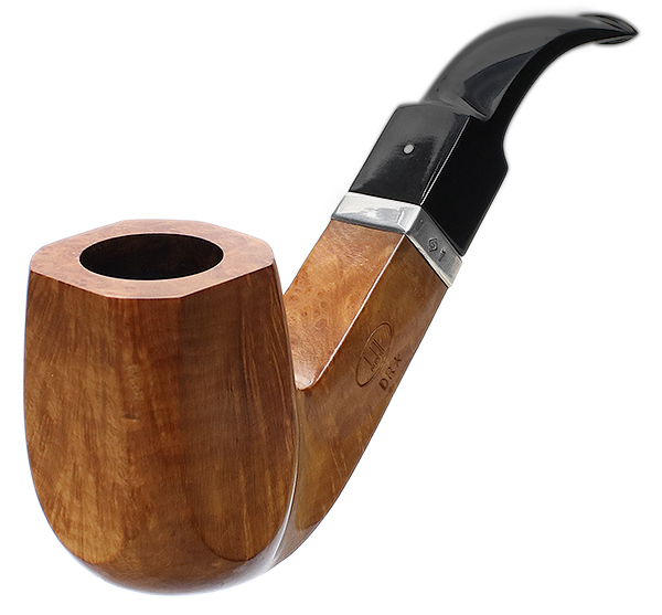 English Estate Dunhill Root Briar Paneled Bent Billiard with 6mm Silver Band (DR) (*) (2008) (Unsmoked)