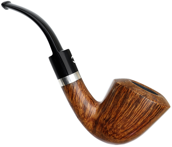 Italian Estate Il Ceppo Smooth Bent Dublin with Silver Band (4) (Unsmoked)