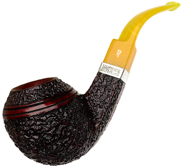 Italian Estate Rinaldo Lithos Bent Bulldog with Silver Band (SL 7) (YY) (Unsmoked)