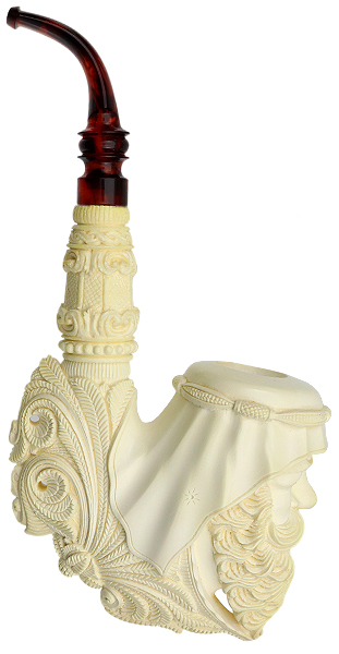 Turkish Estates Kudret Meerschaum Man with Keffiyeh (with Case) (Unsmoked)