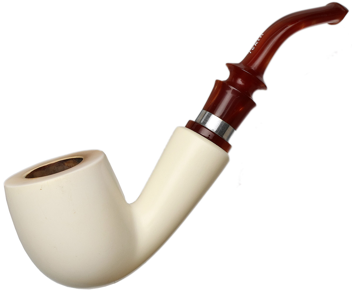 Turkish Estates Tekin Meerschaum Smooth Bent Billiard with Silver (with Case)