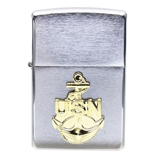 Lighters Zippo Navy Anchor Brushed Chrome Pipe Lighter