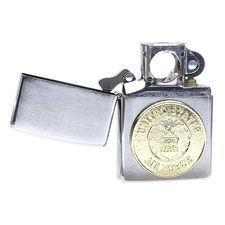 Lighters Zippo Air Force Crest Brushed Chrome Pipe Lighter