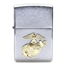 Lighters Zippo Marines Crest Brushed Chrome Pipe Lighter
