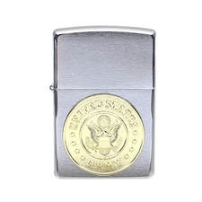 Lighters Zippo Army Crest Brushed Chrome Lighter