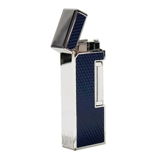 Lighters Dunhill Rollagas Diamond Pattern Blue Resin Palladium Plate