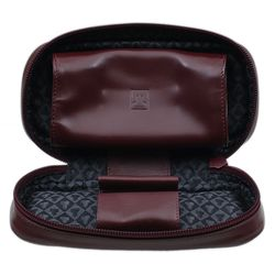 Pipe Accessories Castello Leather 2 Pipe Case with Pouch Cordovan
