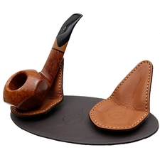 Pipe Accessories Claudio Albieri 2 Pipe Leather Magnetic Stands Dark Brown/Russet